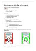 SAMENVATTING: Summary lectures Environment & Development