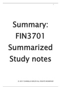SUMMARY: Fin3701 Detailed Notes