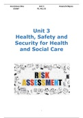 ESSAY: unit 3 health, safety and security in health and social care p3 m2 d1