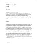 ESSAY: Pearson BTEC Business - Level 3 - UNIT 2