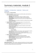SAMENVATTING: Summary materials module 1 (chapters 1 through 9)