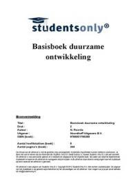SUMMARY: Samenvatting Basisboek Duurzame Ontwikkeling