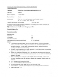 Examen: Tentamen 2012 Europees & Internationaal Belastingrecht A