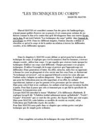 """AUTRE: Commentaire des premier chapitre des """"Techniques du corps"""" Marcel Mauss."""