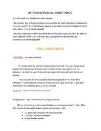 NOTES DE COURS: Introduction au droit privé