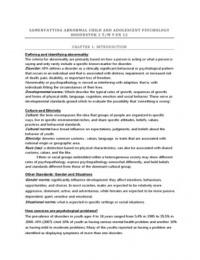 SAMENVATTING: Abnormal child and adoslecent psychology 8e druk, hoofstuk 1 t/m 9 en 12, engelstalig