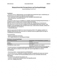 SAMENVATTING: H 1t/m 14 - Biopsychosociale Perspectieven op Psychopathologie