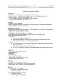 PRÄSENTATION: Handout zur Präsentation der Krankheiten Alzheimer und Parkinson