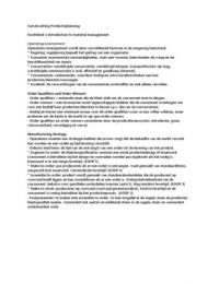 SAMENVATTING: Introduction to Materials Management