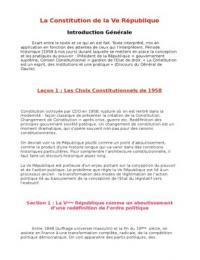 NOTES DE COURS: Cours de Droit Constitutionnel - Licence 1 - Semestre 2