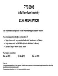 SUMMARY: PYC2603 - Past exam questions and answer 2012-2013