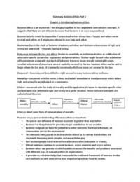 SUMMARY: Business Ethics chapter 1-5 - Crane & Matten