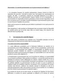 DISSERTATION: Dissertation: Le contrôle parlementaire sur le gouvernement est-il efficace?