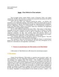 """DISSERTATION: Dissertation de droit constitutionnel sur """"Etat unitaire et Etat fédéral"""""""