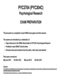 OTHER: PYC3704 - Past exam questions 2012-2013