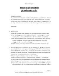 Exam: Tentamen Woon- en huurrecht & goederenrecht
