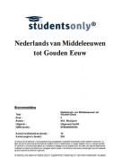 SUMMARY: Nederlands van Middeleeuwen tot Gouden Eeuw