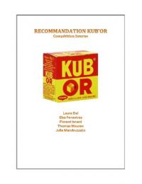AUTRE: Recommandation Marketing Kub'Or